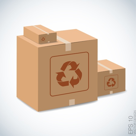 packer:  brown boxes recycle on white   Illustration
