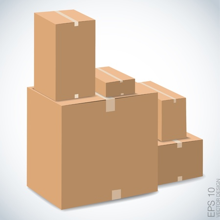 brown boxes stacked , vector design
