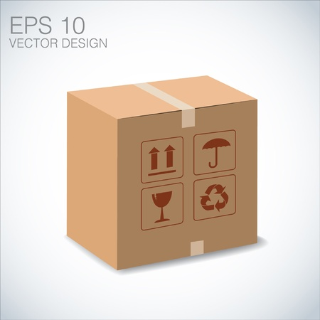 brown box: brown box recycle illustration on white