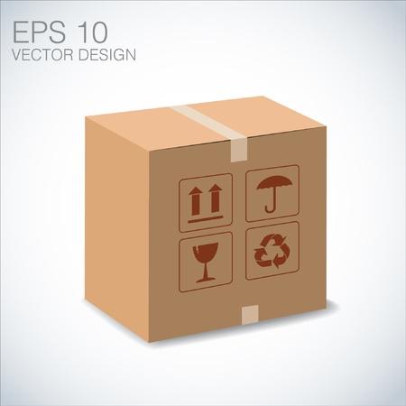 brown box: scatola marrone riciclare illustrazione su bianco Vettoriali