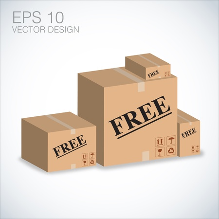 free  boxes illustration vector, eps Vector
