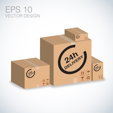 express delivery: cardboard box shipping, package within 24h