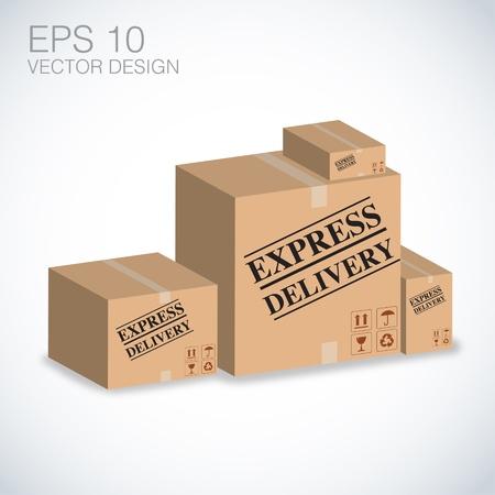 express delivery: express delivery boxes illustration, eps Illustration