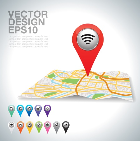 global navigation system:  red Wifi connection map pointer on white   Illustration