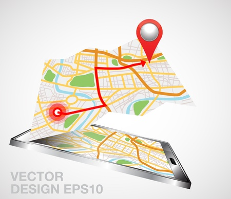 gps device: gps mobile phone illustration
