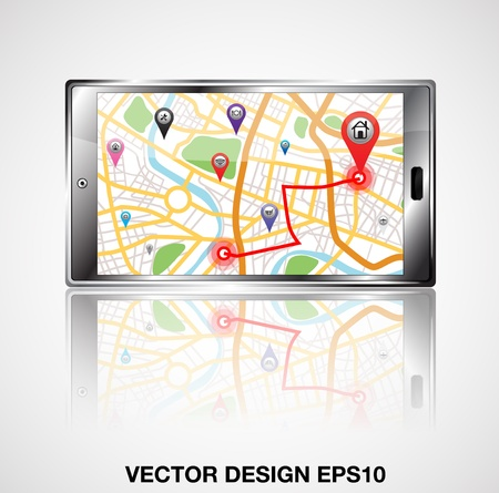 gps mobile phone illustration Vector