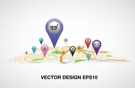 gps pin pointer and map vector Stok Fotoğraf - 21189507