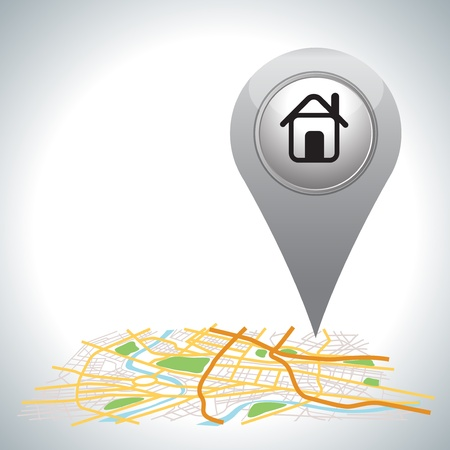 real estate background: gray Pointer pin up icon with house on white   Illustration