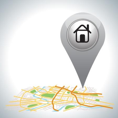 grijs Pointer pin up pictogram met huis op wit Vector Illustratie