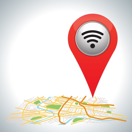 red Wifi connection map pointer on white   Illustration