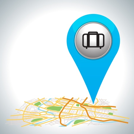 briefcase icon: blue travel pointer on map location   Illustration