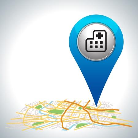 indicador azul del hospital en el mapa de ubicación Ilustración de vector