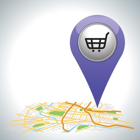 purple shopping cart pointer on map location   Stock Vector - 21189496