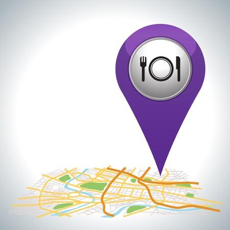 purper restaurant aanwijzer op de kaart locatie Stock Illustratie