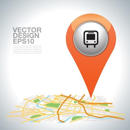 orange pointer, transport on city map