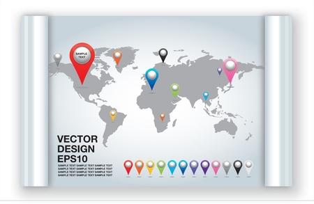 Wereldkaart met set van spelden Pointer Iconen