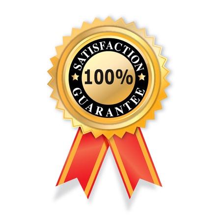 zufriedenheitsgarantie: Zufriedenheit Garantie-Label auf wei�