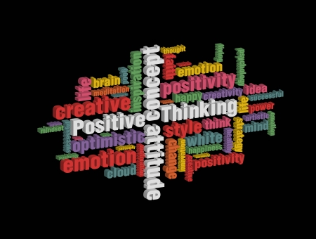 explanatory: colorful positive thinking wordcloud on dark background