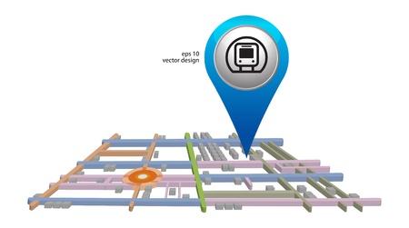 gprs: blue subway icon pointer on white Stock Photo