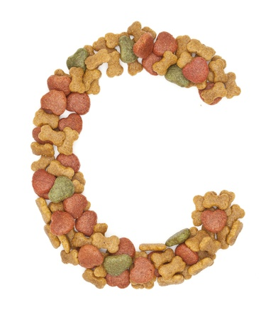 C dog food alphabet on white background  photo