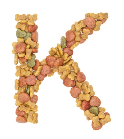 K dog food alphabet on white background  photo