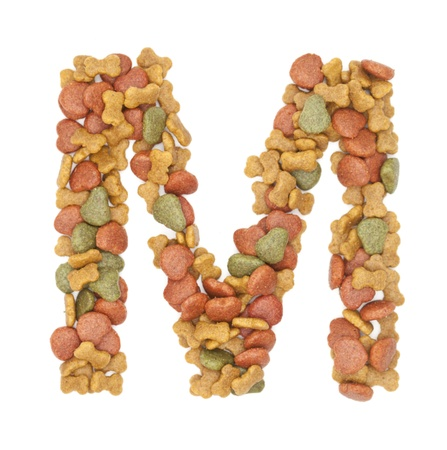 M dog food alphabet on white background  photo