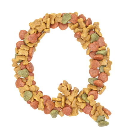 q dog food alphabet on white background  photo