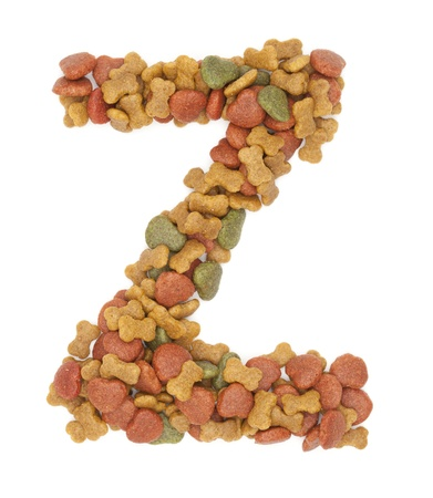 Z dog food alphabet on white background  photo