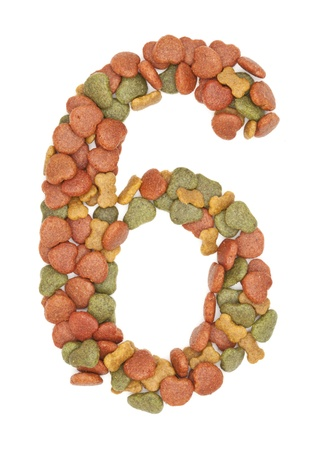 6 dog food number on white background  photo