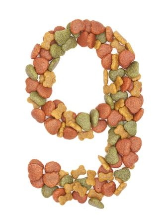 9 dog food number on white background  photo