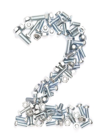 screw heads: number 2 from nuts and bolts on white.  Stock Photo