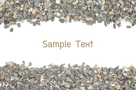 stone gravel frame on white photo