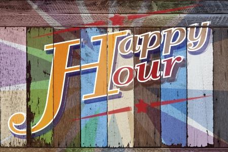 Happy hour, geschreven op houten kleurrijke Stockfoto