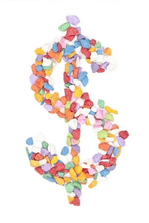 creative money: colorful dollar, gravel on white background.  Stock Photo
