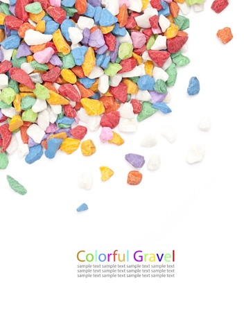 colorful gravel on white background.  photo