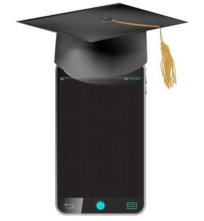 phone isolated: Graduation Hat and black mobile phone Isolated