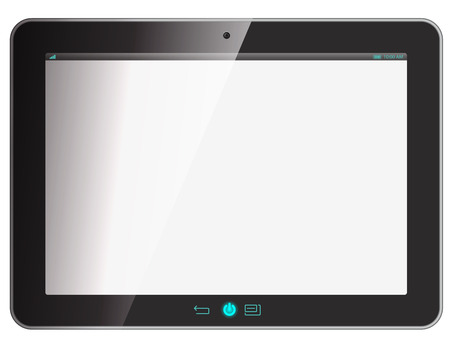 monitor screen: tablet computer on white.  Illustration