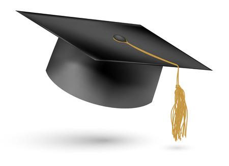 academic achievement: Education hat on White  Illustration