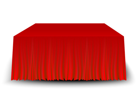 empty table with a red  tablecloth