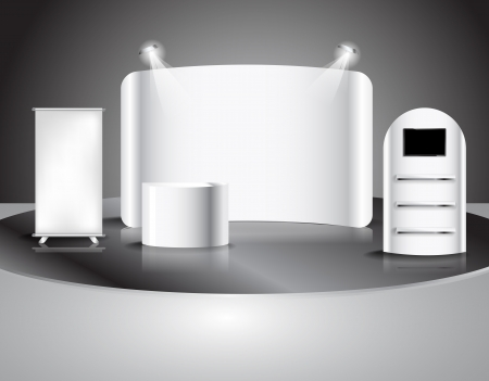 led display: blank trade show booth, illustration Vector  Illustration