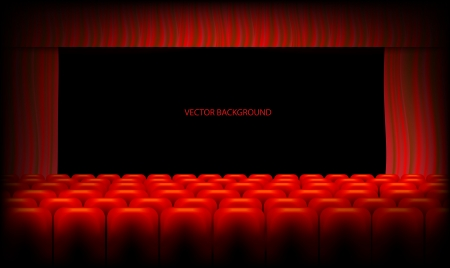 Red theater curtain and seats