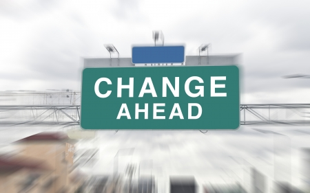 road to success: Change Ahead on Green Road Sign