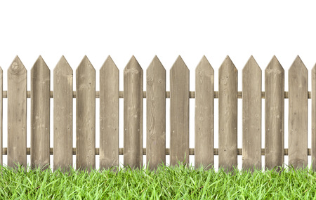wooden fence and grass  isolated on white background   photo