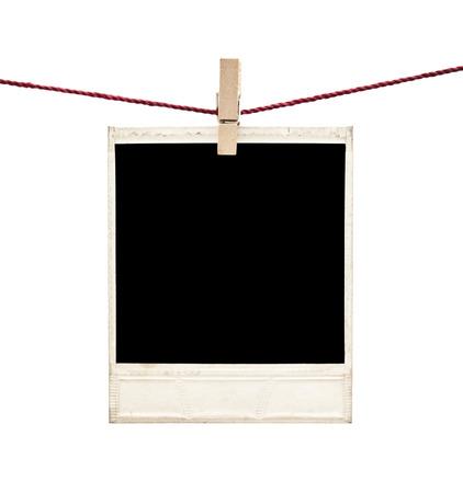 single line: photo polaroid frames on white