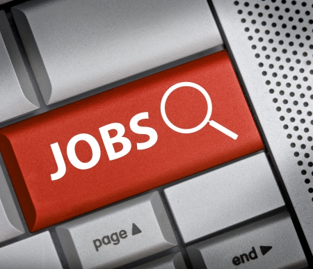 finding Jobs button on red keyboard