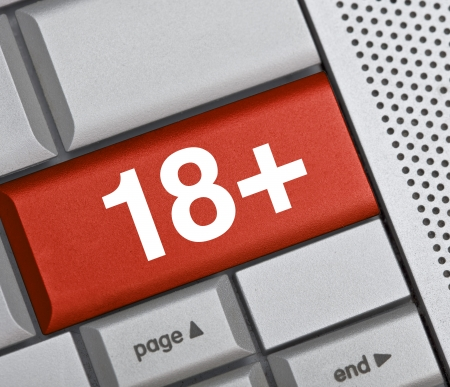 love online concept, symbol on red button keyboard photo