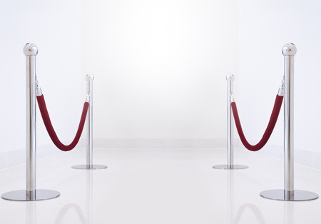 carpet: silver fence, stanchion with red barrier rope.