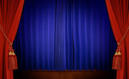 Theatrical curtain of red and blue color   photo