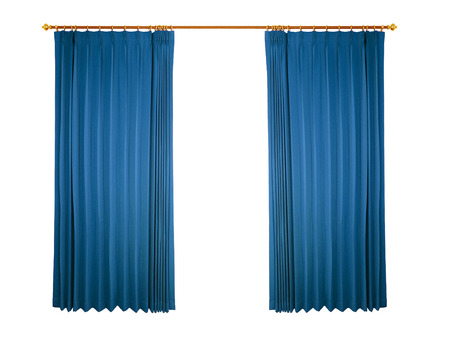 velvet rope: blue curtain isolated on white background Stock Photo