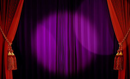 Theatrical curtain of red and purple color  photo